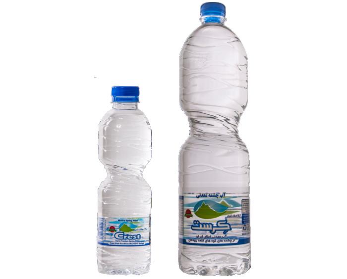 نمونه بطری آب معدنی کرست بزرگ و کوچک